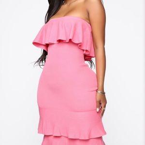Fashion nova pink strapless